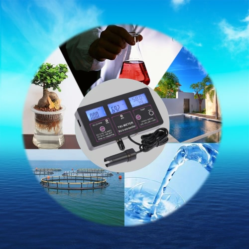 New Professional 6 in 1 Multi-parameter Water Testing Meter Digital LCD Multi-function Water Quality Monitor pH / RH / EC / CF / TTest Equipment &amp; Tools<br>New Professional 6 in 1 Multi-parameter Water Testing Meter Digital LCD Multi-function Water Quality Monitor pH / RH / EC / CF / T<br>
