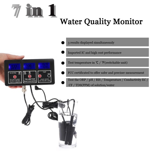 New Professional 7 in 1 Multi-parameter Water Testing Meter Digital LCD Multi-function Water Quality Monitor ORP / pH / RH / EC /Test Equipment &amp; Tools<br>New Professional 7 in 1 Multi-parameter Water Testing Meter Digital LCD Multi-function Water Quality Monitor ORP / pH / RH / EC /<br>
