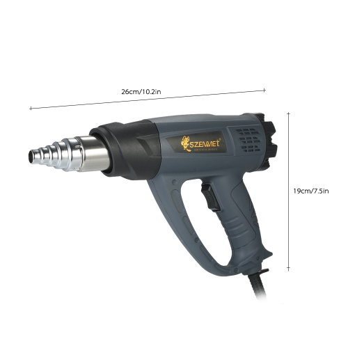 2000W Industrial Fast Heating Hot Air Gun Adjustable Temperature Speed Hot Heat Shrink Blower Tool with 4 Nozzles AC110V US PlugTest Equipment &amp; Tools<br>2000W Industrial Fast Heating Hot Air Gun Adjustable Temperature Speed Hot Heat Shrink Blower Tool with 4 Nozzles AC110V US Plug<br>