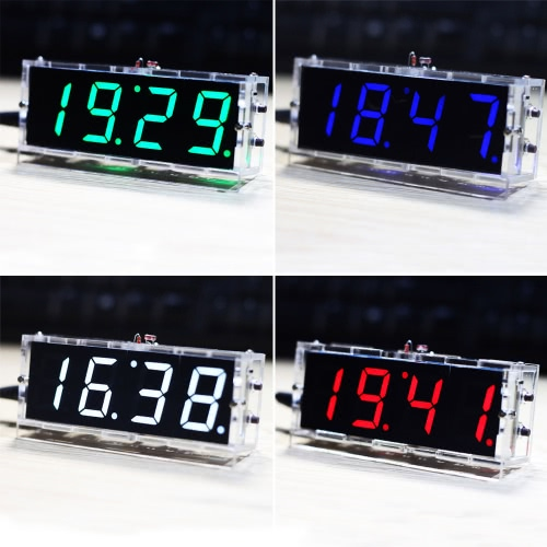 Compact 4-digit DIY Digital LED Clock Kit Light Control Temperature Date Time Display with Transparent CaseTest Equipment &amp; Tools<br>Compact 4-digit DIY Digital LED Clock Kit Light Control Temperature Date Time Display with Transparent Case<br>