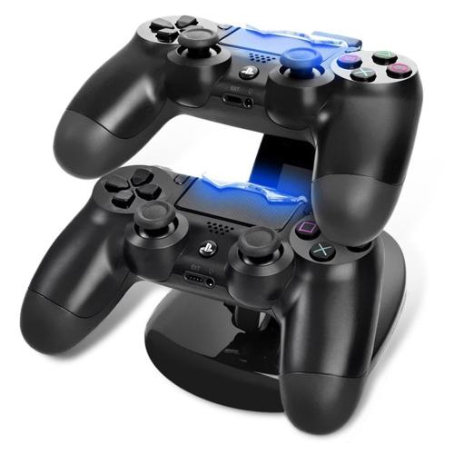 Suporte duplo da estação da doca de carregamento do ABS para o preto de Playstation 4