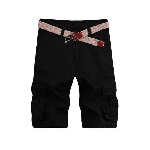 Новая мода мужчин вскользь шорты бермуды Solid Multi-карманный Военные Army Стиль Грузовые шорты Нет Пояс
