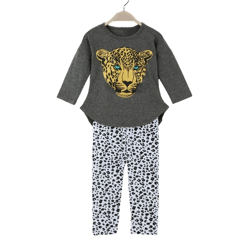 New Fashion Girls Clothing Sets T-shirt Leggings Leopard Head Print Round Neck Long Sleeve Cute SuitApparel &amp; Jewelry<br>New Fashion Girls Clothing Sets T-shirt Leggings Leopard Head Print Round Neck Long Sleeve Cute Suit<br>