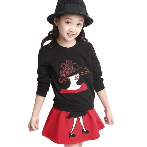 Cute Girls Two-Piece Set Character Patchwork Long Sleeve Sweatshirt Elastic Waist Mini Skirt Outfits Red/BlackApparel &amp; Jewelry<br>Cute Girls Two-Piece Set Character Patchwork Long Sleeve Sweatshirt Elastic Waist Mini Skirt Outfits Red/Black<br>