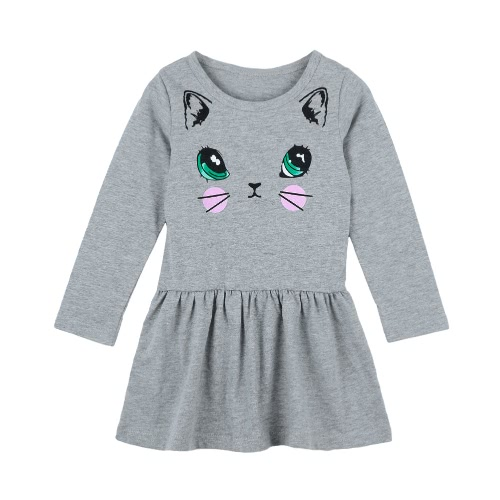 Cute Kids Cotton Cartoon Cat Print Dropped Waist Round Neck Long Sleeve Children Girls DressApparel &amp; Jewelry<br>Cute Kids Cotton Cartoon Cat Print Dropped Waist Round Neck Long Sleeve Children Girls Dress<br>