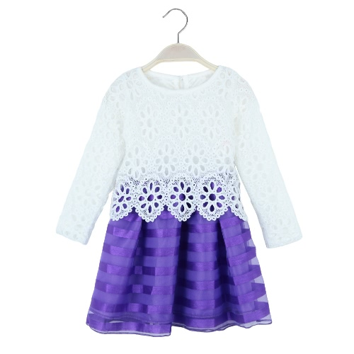 Sweet Kids Princess Crochet Lace Long Sleeve Striped Tulle Children Girls Tutu DressApparel &amp; Jewelry<br>Sweet Kids Princess Crochet Lace Long Sleeve Striped Tulle Children Girls Tutu Dress<br>