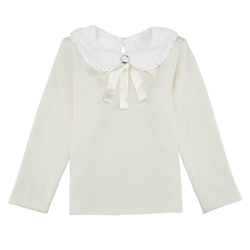 Sweet Cute Kids T-Shirt Peter Pan Collar Long Sleeve Keyhole Children Girls TopApparel &amp; Jewelry<br>Sweet Cute Kids T-Shirt Peter Pan Collar Long Sleeve Keyhole Children Girls Top<br>
