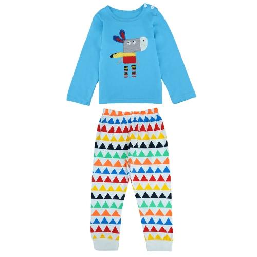 Милый ребенок девочек мальчиков двухсекционный набор ослик Splice длинный рукав кнопку геометрии шаблон упругие талии брюки одежду голубой