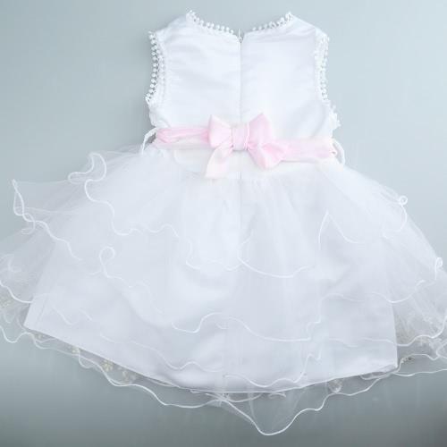 Nouvelle jolie fille princesse Mini robe strass V cou sans manches glissière au dos Pageant Dress White