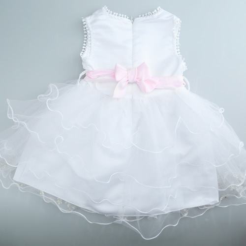 Nuevo lindo vestido de niña Princesa Mini Strass V cuello sin mangas cremallera trasera desfile vestido blanco