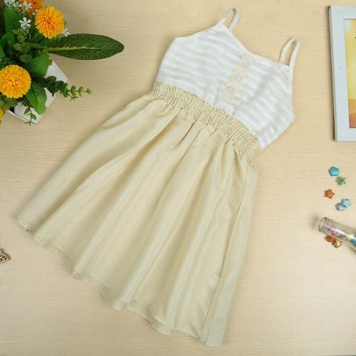 Новые девушки дети Baby скольжения платье хлопка рукавов спагетти ремень упругие талии полосой милые случайные детей Платье белое