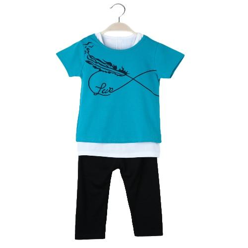 New Kids pour bébé filles tenue O cou impression T-Shirt Top + veste + pantalon taille élastique pantalon trois pièces serties bleus