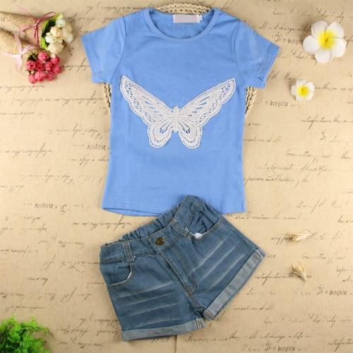 Fashion Baby Kids filles deux pièces Set papillon brodé manches courtes T-Shirt Denim Shorts Jeans Pantalons vêtements bleu clair