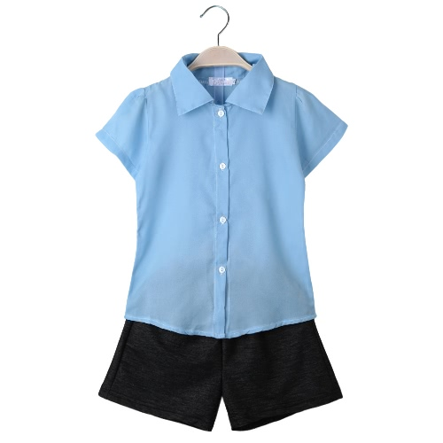 Fashion Baby Kids Girls Two-Piece Set Chiffon Short Sleeve Shirt Casual Shorts Pants Trousers Children Outfits Light BlueApparel &amp; Jewelry<br>Fashion Baby Kids Girls Two-Piece Set Chiffon Short Sleeve Shirt Casual Shorts Pants Trousers Children Outfits Light Blue<br>