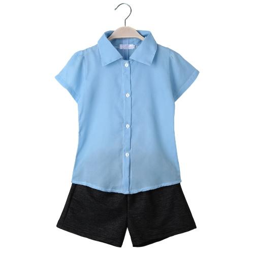 Fashion Baby Kids filles ensemble deux pièces à manches courtes en mousseline de soie chemise Casual Shorts pantalons pantalons enfants tenues bleu
