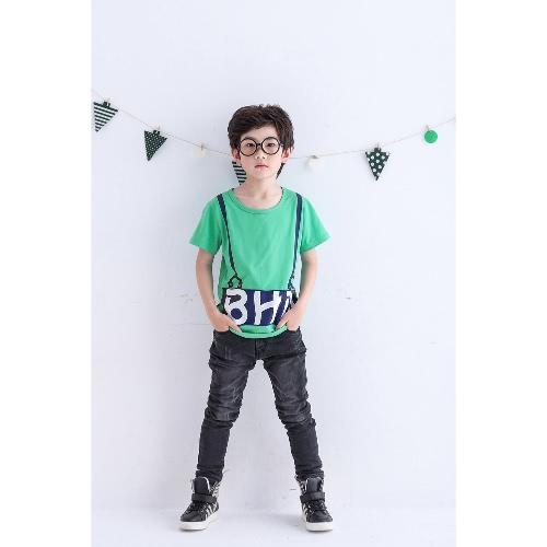 Tee superior carta manga corta camiseta sólido O cuello jersey algodón Tee blanco/verde/amarillo chicos niños