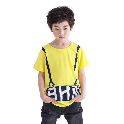 Kids Boys Top Tee Letter Print Short Sleeve T-Shirt Solid O-Neck Pullover Cotton Tee White/Green/YellowApparel &amp; Jewelry<br>Kids Boys Top Tee Letter Print Short Sleeve T-Shirt Solid O-Neck Pullover Cotton Tee White/Green/Yellow<br>