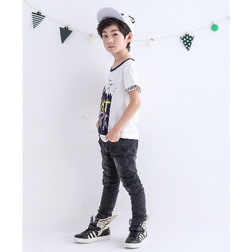 Kids Boyss T-Shirt Letter Graphic Print O-Neck Rolled Sleeves Cotton Pullover Tees TopApparel &amp; Jewelry<br>Kids Boyss T-Shirt Letter Graphic Print O-Neck Rolled Sleeves Cotton Pullover Tees Top<br>