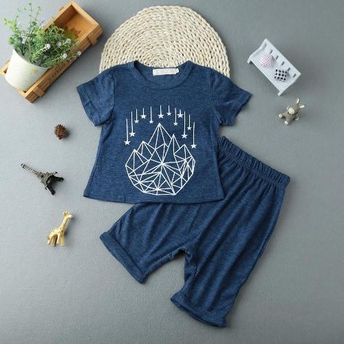 Мода малышей Baby Boy двухсекционный набор короткие печатных футболку, обрезанные брюки Брюки подростковые дети наряды костюмы синий