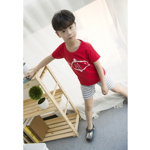 New Fashion Boys Two-Piece Set T-shirt Shorts Contrast Pattern Striped Print Drawstring Waistband Casual Clothing SetsApparel &amp; Jewelry<br>New Fashion Boys Two-Piece Set T-shirt Shorts Contrast Pattern Striped Print Drawstring Waistband Casual Clothing Sets<br>