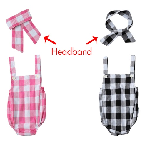 Fashion Newborn Infant Baby Girls Jumpsuit Strap Backless Plaid Covered Button Headband Toddler Romper Outfits Black/PinkApparel &amp; Jewelry<br>Fashion Newborn Infant Baby Girls Jumpsuit Strap Backless Plaid Covered Button Headband Toddler Romper Outfits Black/Pink<br>