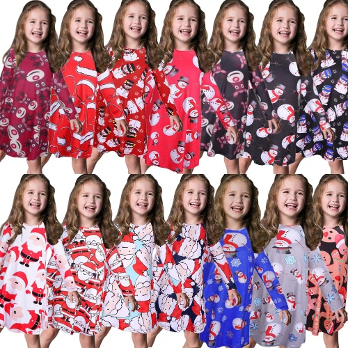 Kids Girls Christmas Print Dress Long Sleeves O Neck Children Party Princess Dress Costume T-shirtApparel &amp; Jewelry<br>Kids Girls Christmas Print Dress Long Sleeves O Neck Children Party Princess Dress Costume T-shirt<br>