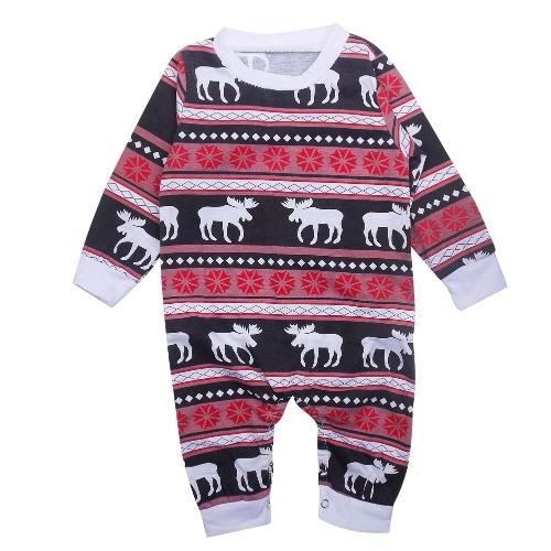 Traje de bebé para bebés Pelele para mono Traje de renos de pijama de Navidad para familia Traje a juego con la familia Padre Madre Niños Ropa de dormir para bebés Rojo