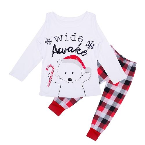 Noël Famille Enfants Garçon Filles Pyjamas Ensembles Ours Lettre Imprimé À Manches Longues Top Plaid Pantalon Vêtements de Nuit Blanc