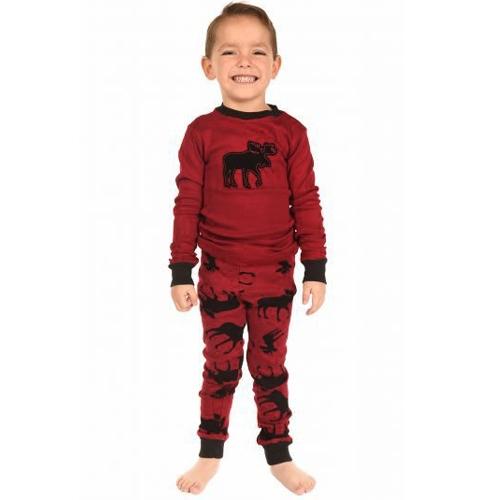 Noël Famille Pyjama Set Enfants Garçons Filles Renne Imprimé Vêtements de Nuit Vêtements de Nuit Manches Longues Haut Pantalon Rouge