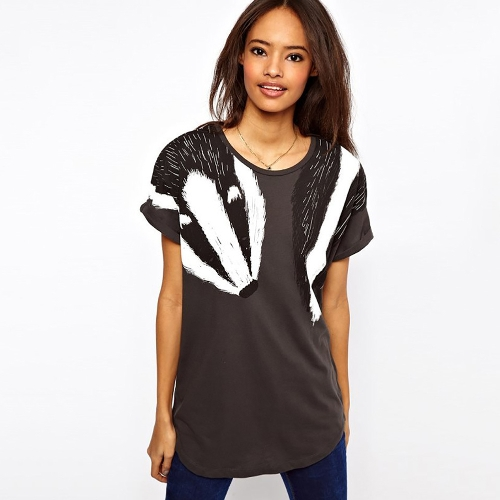 Women Loose Long T-shirt Animal Swan Badger Print Round Neck Short Rolled Sleeve Casual TopsApparel &amp; Jewelry<br>Women Loose Long T-shirt Animal Swan Badger Print Round Neck Short Rolled Sleeve Casual Tops<br>