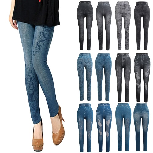 Women Leggings Faux Denim Jeans Printed Skinny Trousers Casual Tights Stretch Slim Pencil PantsApparel &amp; Jewelry<br>Women Leggings Faux Denim Jeans Printed Skinny Trousers Casual Tights Stretch Slim Pencil Pants<br>