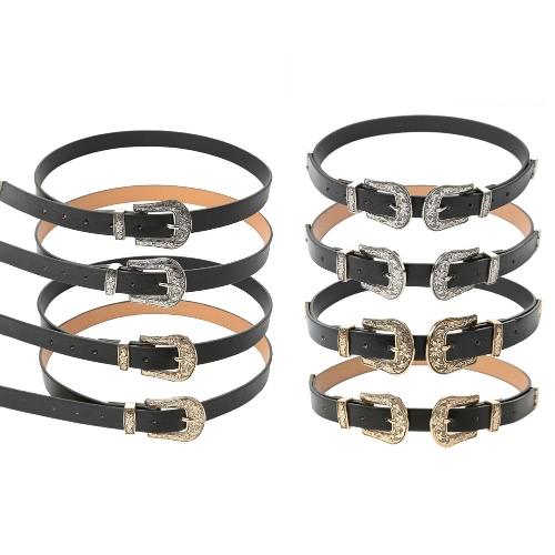 New Fashion Women Leather Waist Belt Metal Vintage Slim Double Buckle Waistband Waist StrapApparel &amp; Jewelry<br>New Fashion Women Leather Waist Belt Metal Vintage Slim Double Buckle Waistband Waist Strap<br>