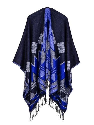 Fashion Women Poncho Cardigan Sweater Geometric Tassels Fringed Faux CashmereApparel &amp; Jewelry<br>Fashion Women Poncho Cardigan Sweater Geometric Tassels Fringed Faux Cashmere<br>