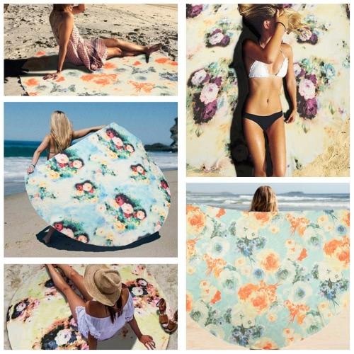 Fashion Women Cover Ups Cloak Bohemian Floral Print Round Mat Bikini Shawl Swimwear Bathing SuitApparel &amp; Jewelry<br>Fashion Women Cover Ups Cloak Bohemian Floral Print Round Mat Bikini Shawl Swimwear Bathing Suit<br>