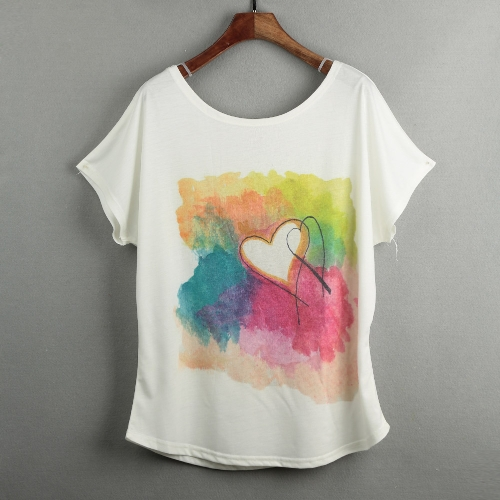 Casual Special Print O-Neck Short Batwing Sleeve Loose White T-shirt for WomenApparel &amp; Jewelry<br>Casual Special Print O-Neck Short Batwing Sleeve Loose White T-shirt for Women<br>