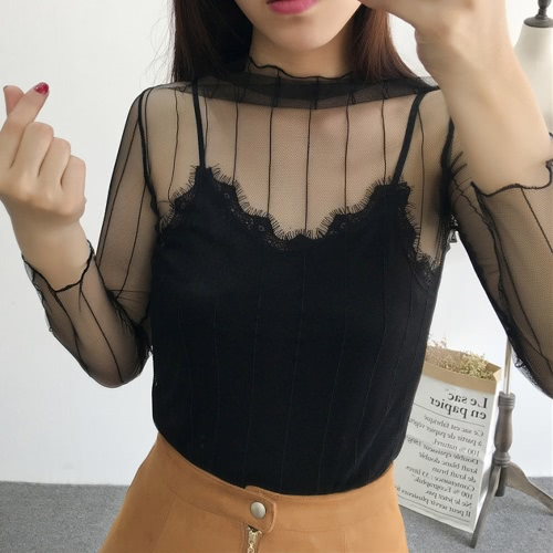 New Sexy Women Sheer Mesh Bodycon Top Thin Lace Long Sleeves Pullover Elegant Blouse BlackApparel &amp; Jewelry<br>New Sexy Women Sheer Mesh Bodycon Top Thin Lace Long Sleeves Pullover Elegant Blouse Black<br>