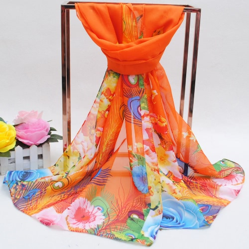 Fashion Women Chiffon Scarf Feather Floral Print Contrast Color Beach Thin Long Shawl PashminaApparel &amp; Jewelry<br>Fashion Women Chiffon Scarf Feather Floral Print Contrast Color Beach Thin Long Shawl Pashmina<br>
