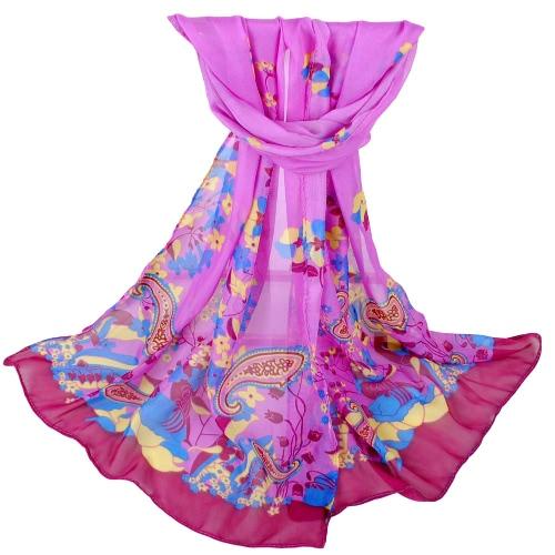 New Women Chiffon Scarf Geometric Floral Print Contrast Long Thin Pashmina Silk ShawlApparel &amp; Jewelry<br>New Women Chiffon Scarf Geometric Floral Print Contrast Long Thin Pashmina Silk Shawl<br>