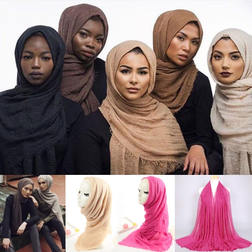 Fashion Women Hijab Bubble Plain Long Scarf Crimp Frayed Edge Muffler Pashmina Muslim ShawlsApparel &amp; Jewelry<br>Fashion Women Hijab Bubble Plain Long Scarf Crimp Frayed Edge Muffler Pashmina Muslim Shawls<br>
