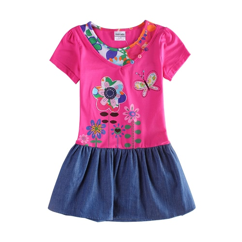 New Fashion Girls Dress Denim Skirt Floral Print Embroidery Buttons Beads Round Neck Short Sleeve RoseApparel &amp; Jewelry<br>New Fashion Girls Dress Denim Skirt Floral Print Embroidery Buttons Beads Round Neck Short Sleeve Rose<br>