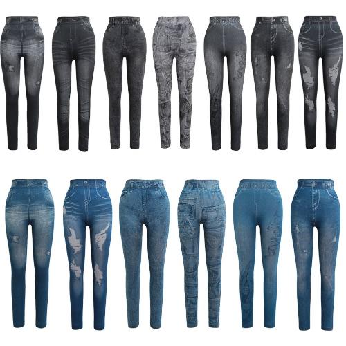 Women Leggings Faux Denim Jeans Printed Skinny Trousers Casual Tights Stretch Slim Pencil PantsApparel &amp; Jewelry<br>Women Leggings Faux Denim Jeans Printed Skinny Trousers Casual Tights Stretch Slim Pencil Pants<br>