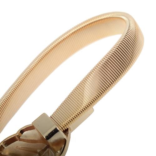 Vintage Women Skinny Elastic Belt Leaf Design Clasp Front Stretch Metal Waist Belt Gold/SilverApparel &amp; Jewelry<br>Vintage Women Skinny Elastic Belt Leaf Design Clasp Front Stretch Metal Waist Belt Gold/Silver<br>