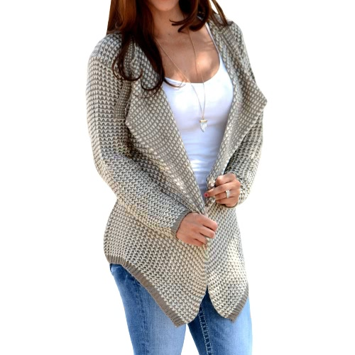 New Autumn Winter Women Knit Coat Knitwear Sweater Lapel Long Sleeve Loose Causal Knitted Cardigan Khaki/BlackApparel &amp; Jewelry<br>New Autumn Winter Women Knit Coat Knitwear Sweater Lapel Long Sleeve Loose Causal Knitted Cardigan Khaki/Black<br>