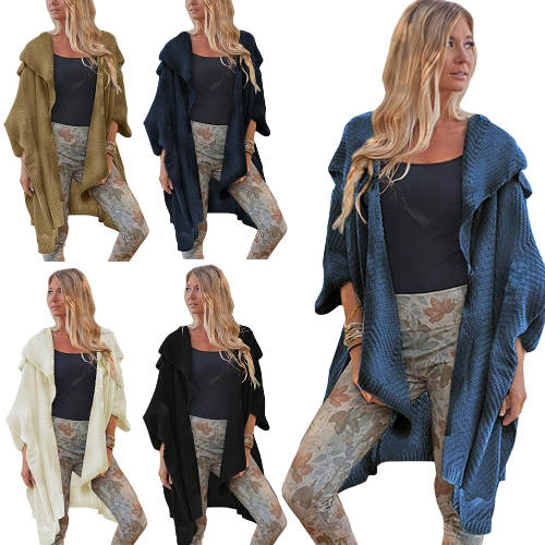 Women Loose Sweater Cardigan Open Front Batwing Sleeve Solid Split Casual Knitted Outerwear CoatApparel &amp; Jewelry<br>Women Loose Sweater Cardigan Open Front Batwing Sleeve Solid Split Casual Knitted Outerwear Coat<br>