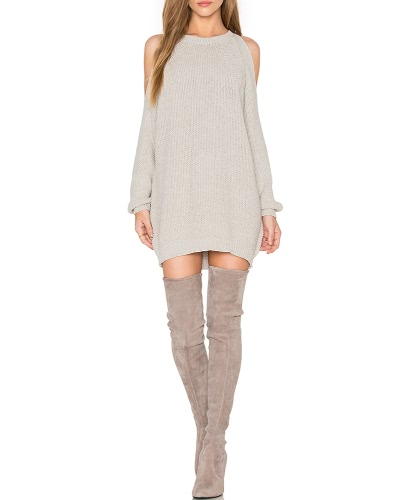 Women Knit Sweater Dress Off Shoulder O-Neck Long Sleeve Tunic Pullover Jumper Tops KhakiApparel &amp; Jewelry<br>Women Knit Sweater Dress Off Shoulder O-Neck Long Sleeve Tunic Pullover Jumper Tops Khaki<br>