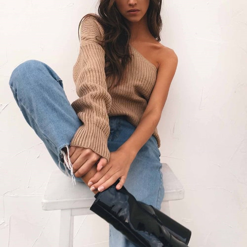 Sexy Women Knitted Sweater One Shoulder Long Sleeve Solid Loose Warm Jumper Pullover Knitwear White/KhakiApparel &amp; Jewelry<br>Sexy Women Knitted Sweater One Shoulder Long Sleeve Solid Loose Warm Jumper Pullover Knitwear White/Khaki<br>