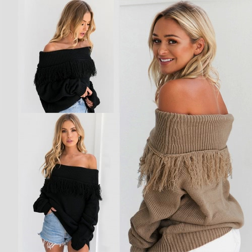 Women Knitted Sweater Solid Color Off Shoulder Tassels Ribbed Long Sleeve Loose Pullover Khaki/BlackApparel &amp; Jewelry<br>Women Knitted Sweater Solid Color Off Shoulder Tassels Ribbed Long Sleeve Loose Pullover Khaki/Black<br>
