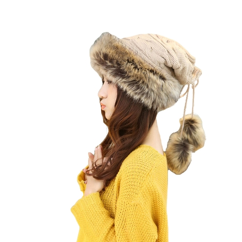 Winter Warm Faux Fur Drawstring Hat Scarf Thicken Knitted BeanieApparel &amp; Jewelry<br>Winter Warm Faux Fur Drawstring Hat Scarf Thicken Knitted Beanie<br>