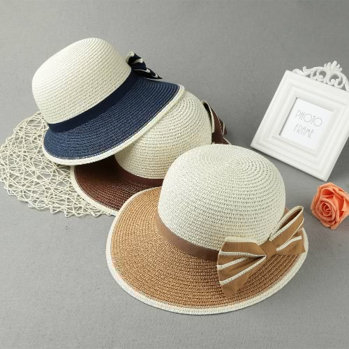 New Fashion Women Bow Straw Hat Contrast Color Wide Brim Summer Beach Sun Cap Floppy Trilby Hat Khaki/Coffee/Dark BlueApparel &amp; Jewelry<br>New Fashion Women Bow Straw Hat Contrast Color Wide Brim Summer Beach Sun Cap Floppy Trilby Hat Khaki/Coffee/Dark Blue<br>