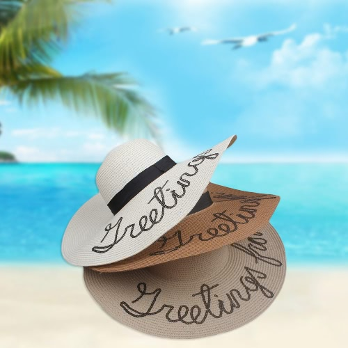 Summer Women Straw Floppy Hat Wide Brim Letter Sequins Foldable Sun Beach Holiday Casual Cap White/Beige/KhakiApparel &amp; Jewelry<br>Summer Women Straw Floppy Hat Wide Brim Letter Sequins Foldable Sun Beach Holiday Casual Cap White/Beige/Khaki<br>